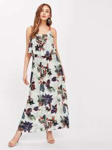 Flounce Layered Tropical Print Cami Dress