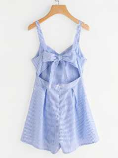 Cut Out Bow Back Pleated Romper