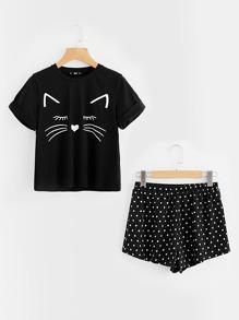 Cat Print Cuffed Top And Polka Dot Shorts Pajama Set
