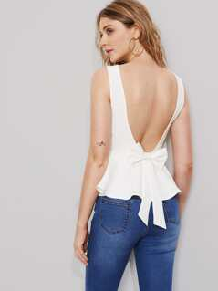 Bow Embellished Scoop Back Peplum Top