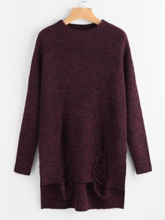 Marled Knit Stepped Hem Ripped Jumper