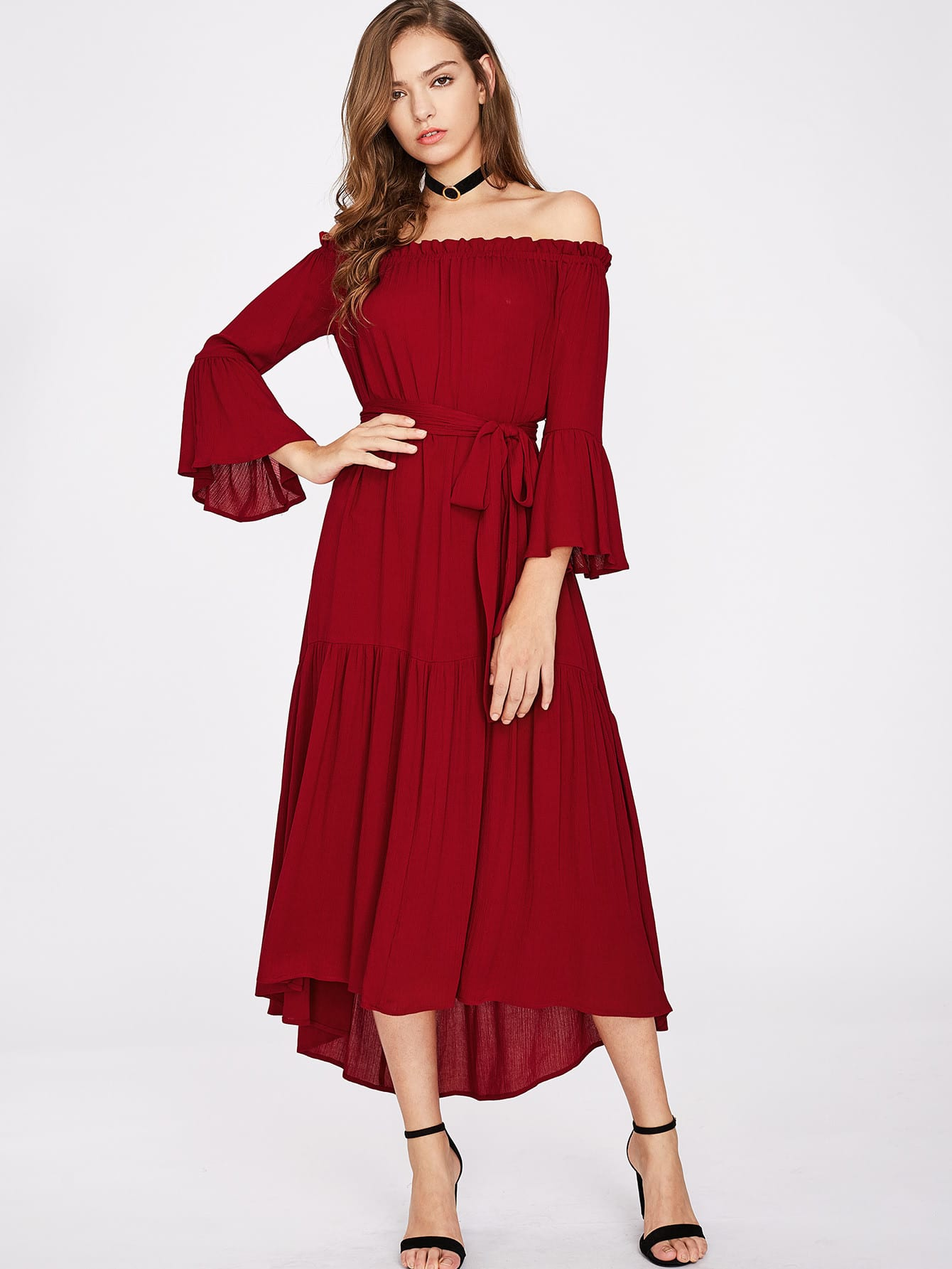 Self Tie Fluted Sleeve Tiered Bardot Dress hollow cut fluted sleeve bardot blouse