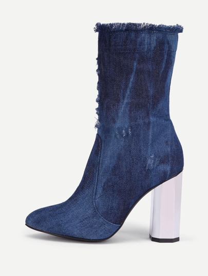 Distressed Detail Block Heeled Denim Boots