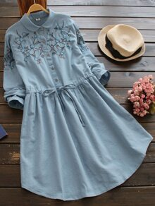 Peter Pan Collar Embroidered Drawstring Shirt Dress
