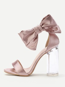 Bow Tie Decorated Satin Block Heeled Sandals