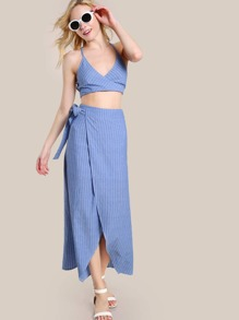 Crisscross Back Surplice Wrap Cami And Overlap Skirt Set