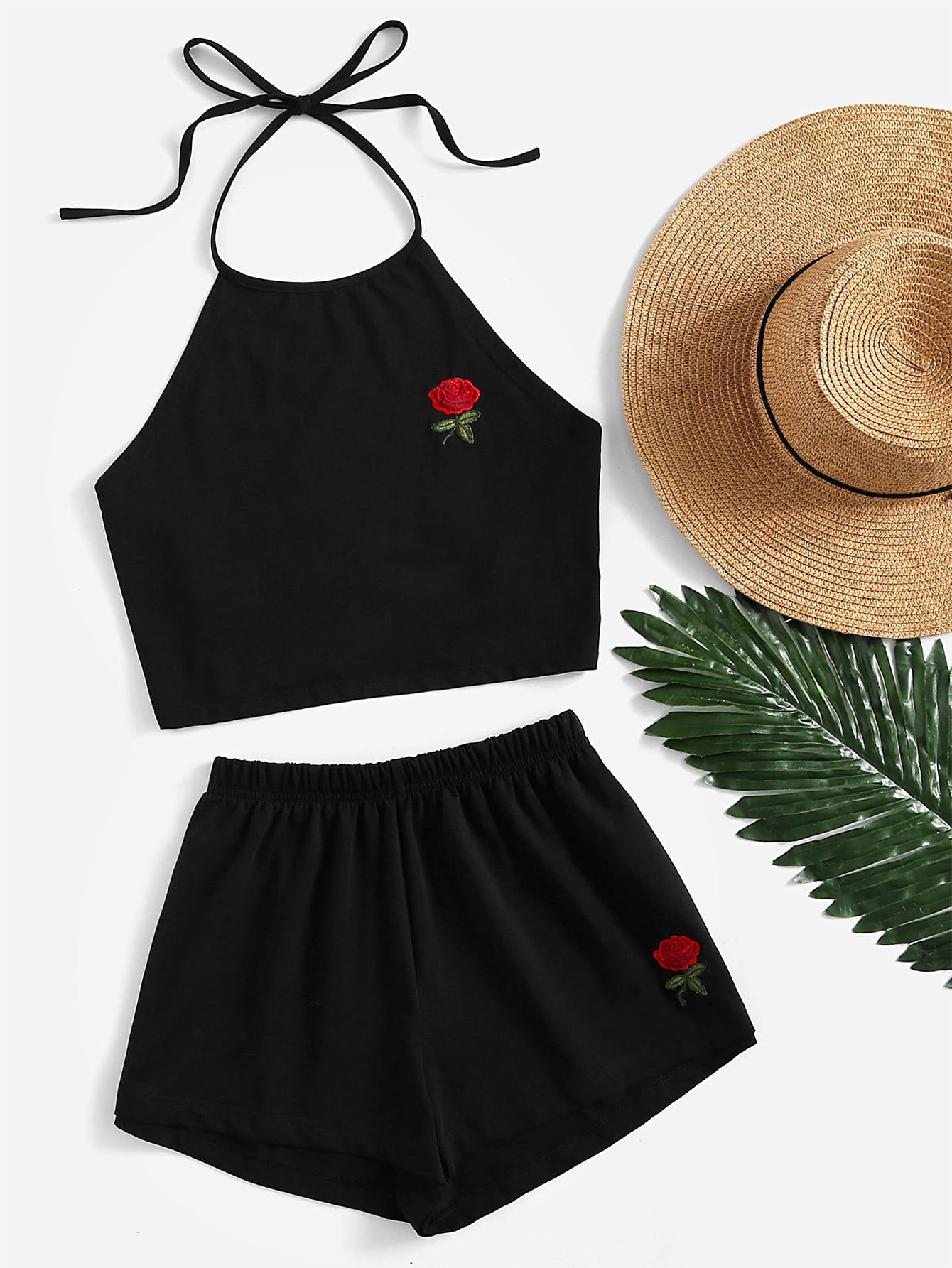 Rose Embroidered Tie Back Halter Top And Shorts Co-Ord яйцеварки ricci яйцеварка ricci page 3
