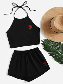 Rose Embroidered Tie Back Halter Top And Shorts Co-Ord