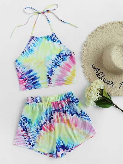 Bow Back Tie Dye Halter Top With Shorts