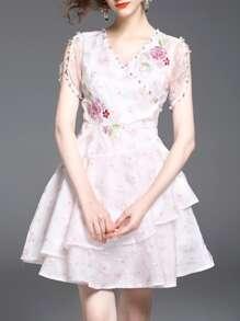 V Neck Beading Flowers Embroidered Dress