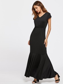V Neckline Cap Sleeve Fishtail Dress