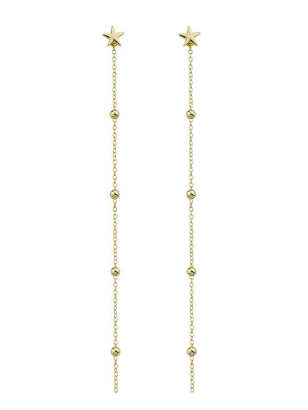 Gold Color Pearl Chain And Star Pendant Earrings