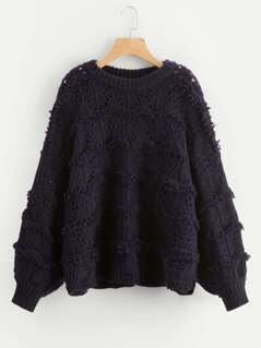 Frayed Detail Loose Sweater