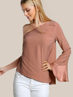 Single Shoulder Trumpet Sleeve Top BLUSH