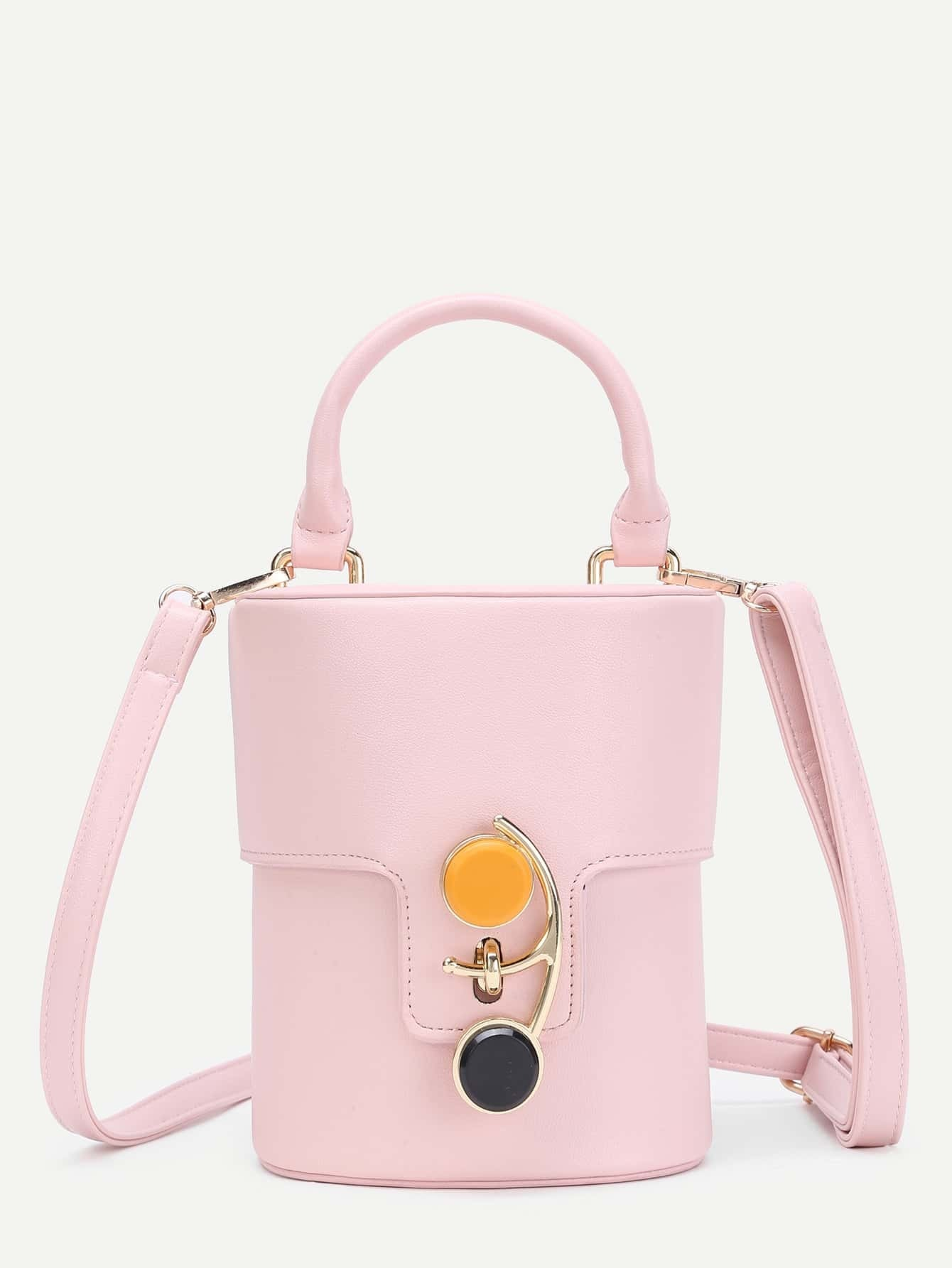 Фото Button Front PU Bucket Bag With Handle. Купить с доставкой