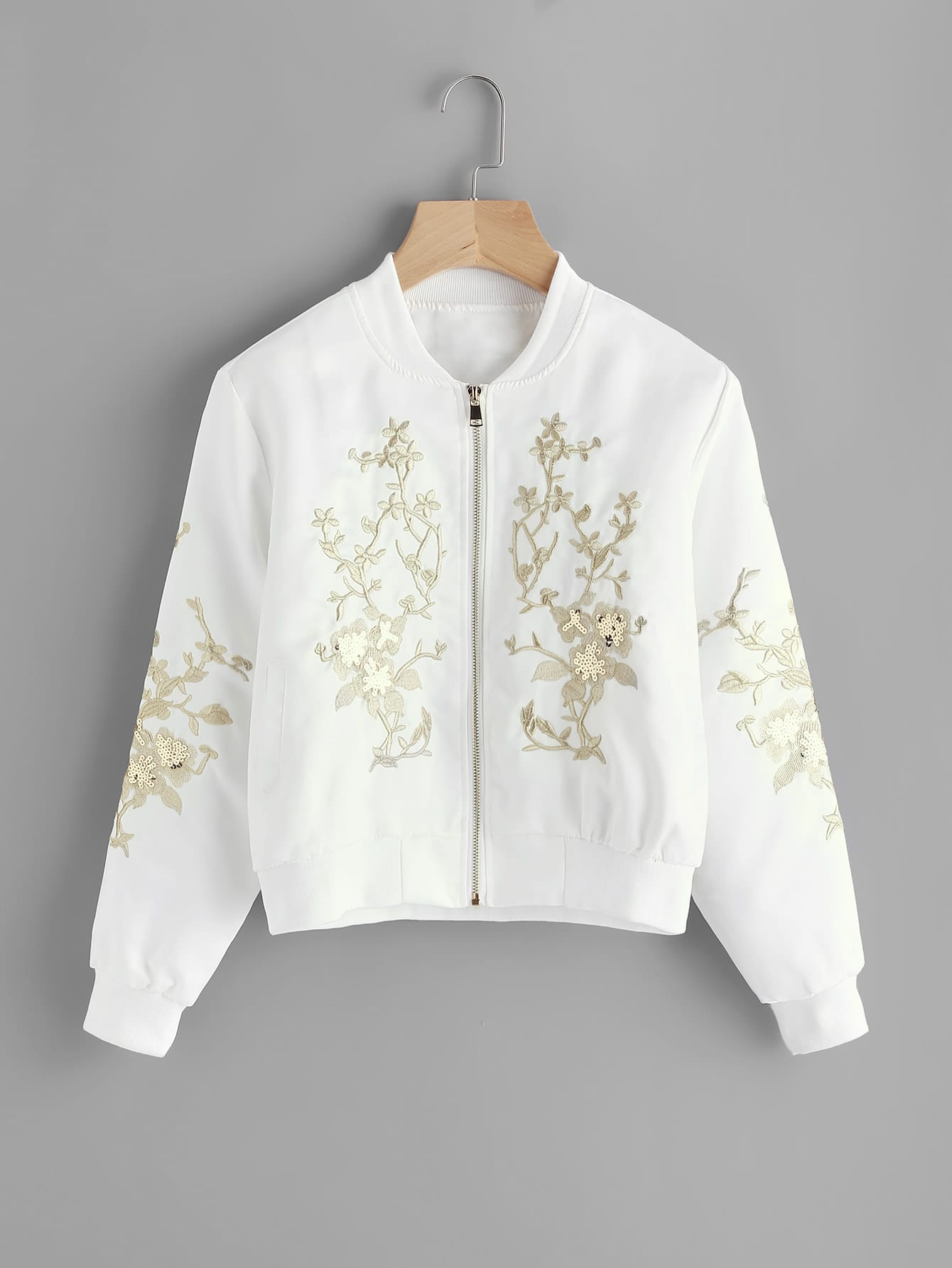 Flower Embroidered Sequin Detail Ribbed Trim Jacket jacket170731102