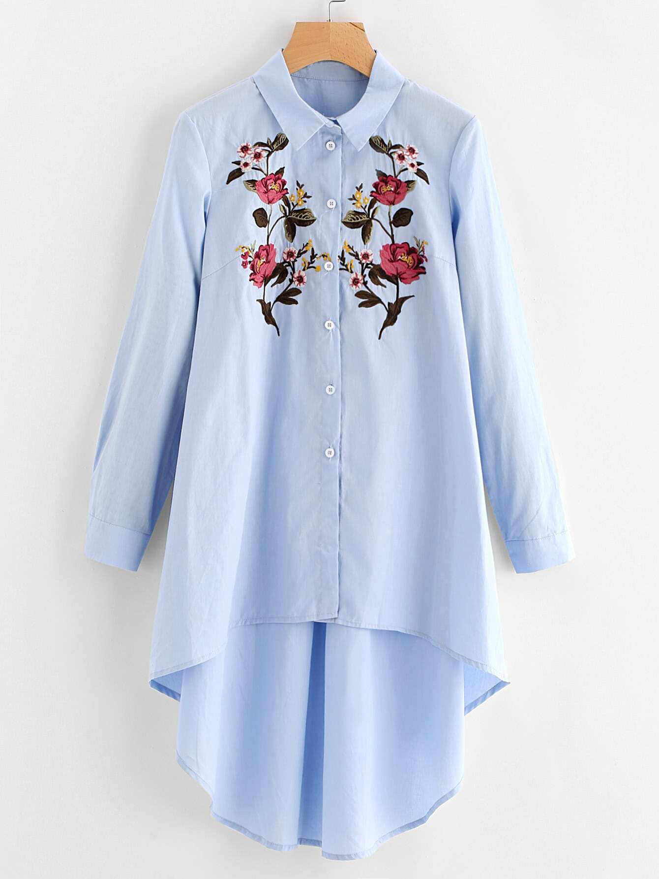 Купить Модная асимметричная рубашка с цветочной вышивкой, null, SheIn