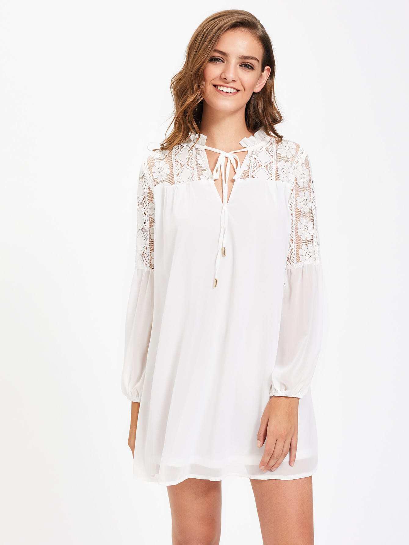 Фото Tie Neck Lace Shoulder Bishop Sleeve Dress. Купить с доставкой