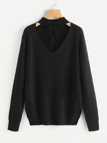 Lace Up Choker Neck Jumper