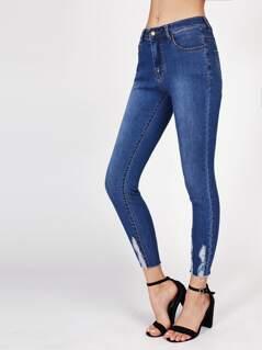 Ripped Hem Skinny Jeans
