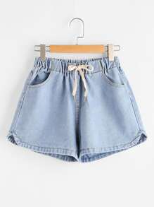 Shorts elastico in vita delfino del denim del bordo