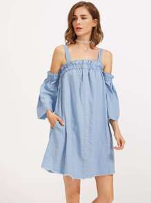 Frill Trim Raw Binding Chambray Dress