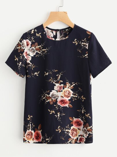 Button Closure Back Flower Print Top