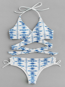 Graphic Print Side Tie Wrap Bikini Set