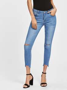 Knee Ripped Staggered Raw Hem Jeans