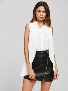Dip Hem Slit Sleeveless Top