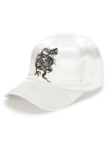 Cappellino di rasa con ricamo di drago