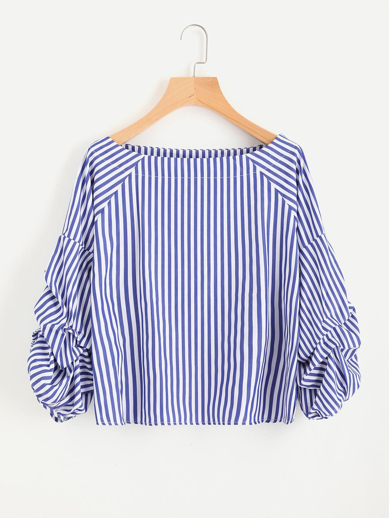Фото Contrast Striped Ruched Sleeve Blouse. Купить с доставкой