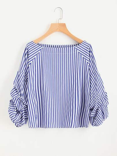 Contrast Striped Ruched Sleeve Blouse
