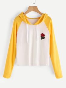 Raglan Sleeve Rose Patch Hoodie