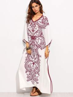 Contrast Binding Batwing Sleeve Kaftan Dress