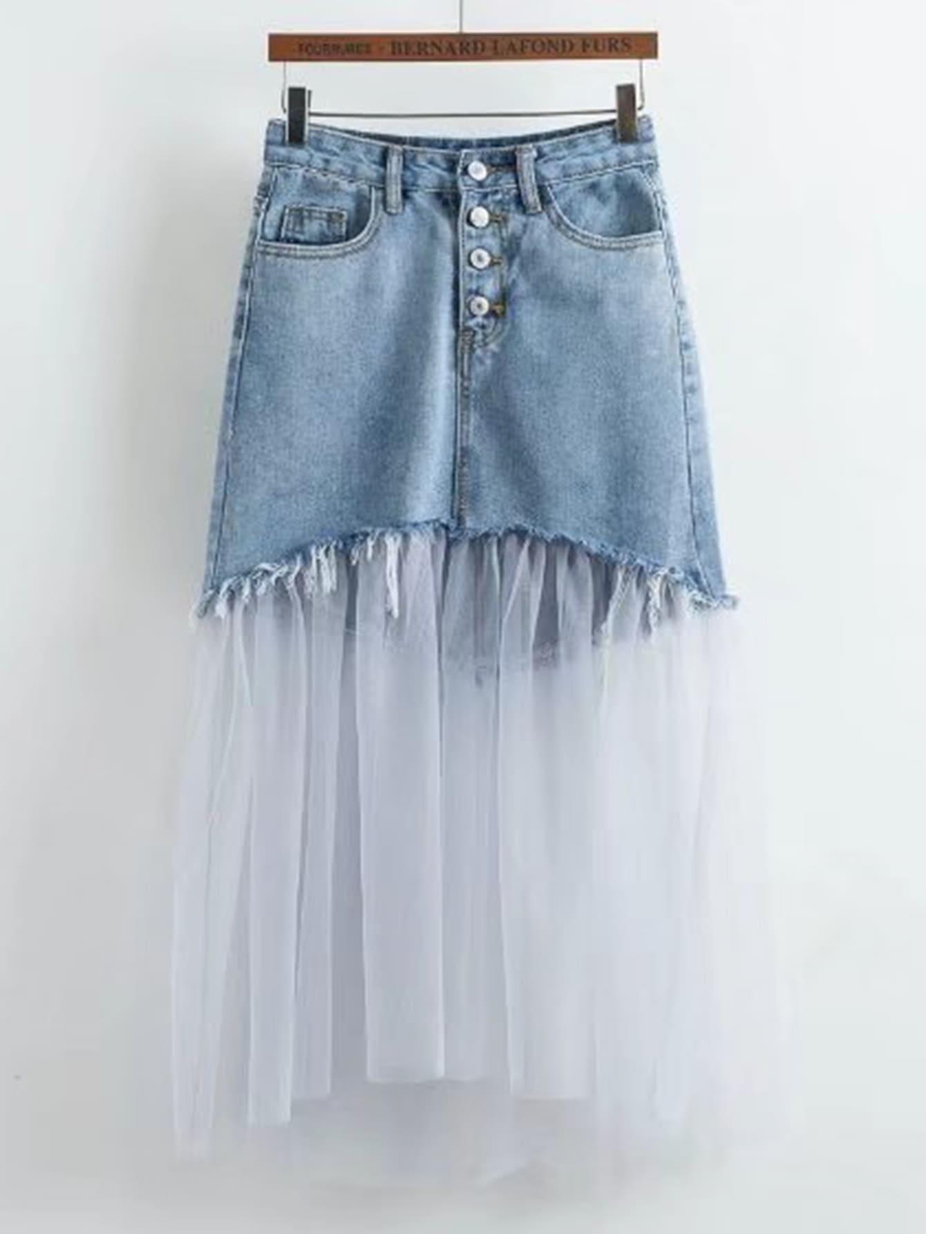 Фото Contrast Mesh Frayed Detail Denim Skirt. Купить с доставкой