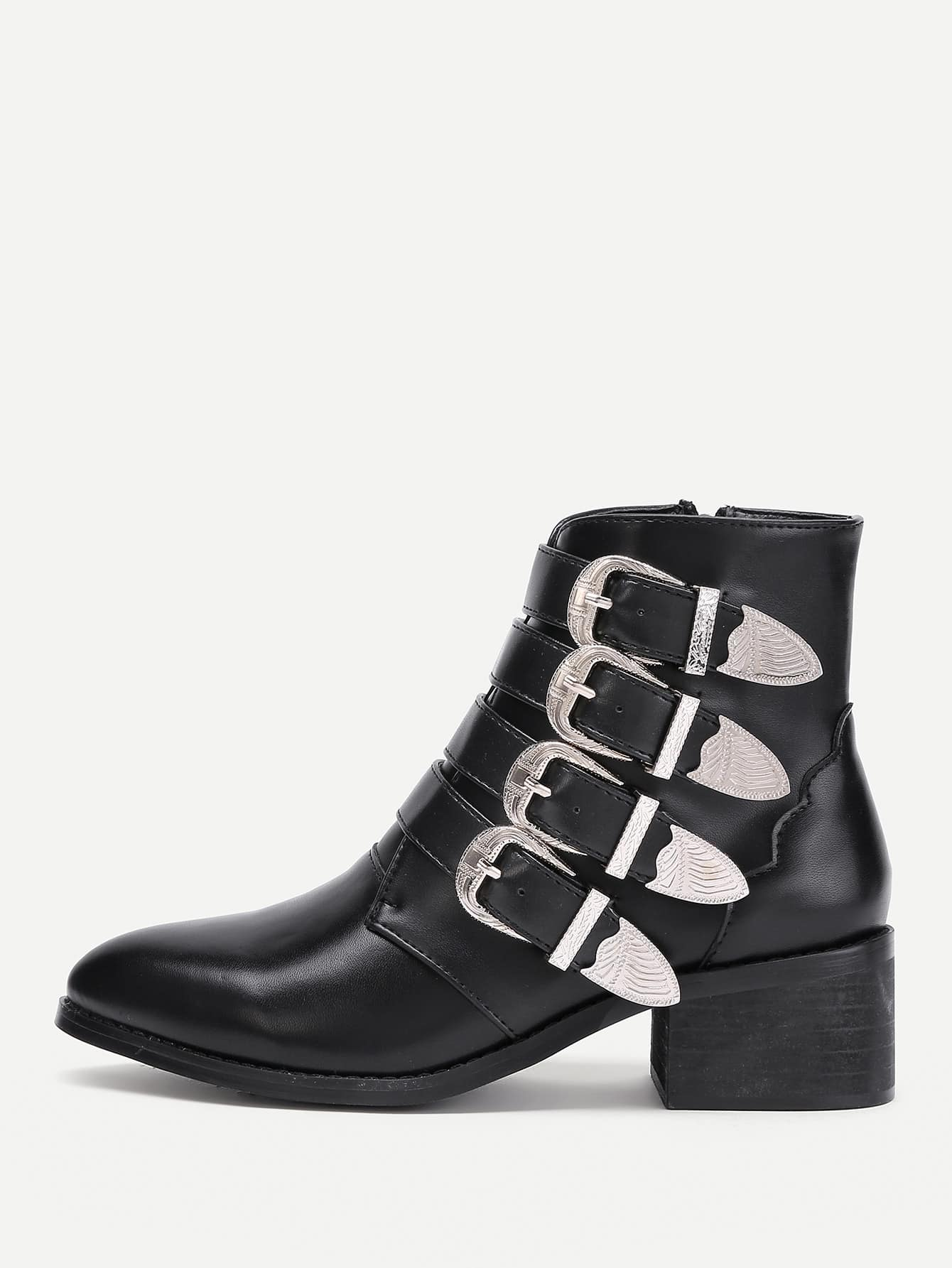 Купить со скидкой Buckle Decorated Side Zipper Ankle Boots