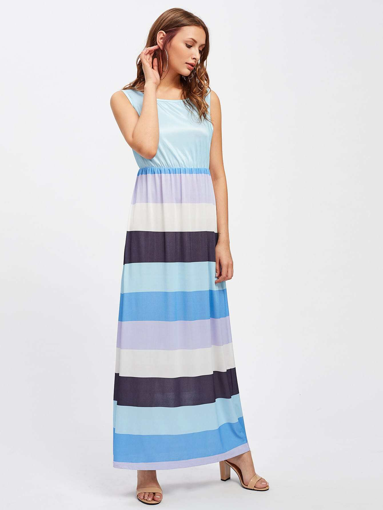 Фото Block Striped Blouson Tank Dress. Купить с доставкой