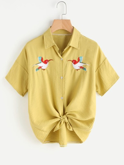 Bird Embroidered Knot Front Shirt