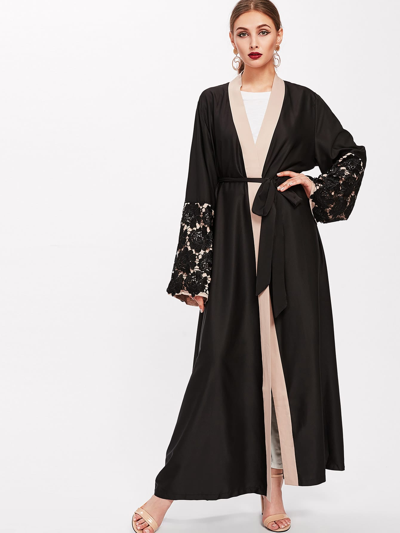 Contrast Floral Lace Detail Sleeve Self Tie Abaya black stitching floral lace self tie front long sleeves bodysuit
