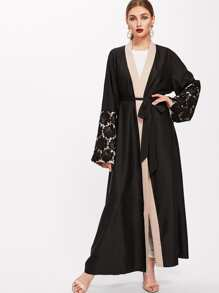 Image of Contrast Floral Lace Detail Sleeve Self Tie Abaya