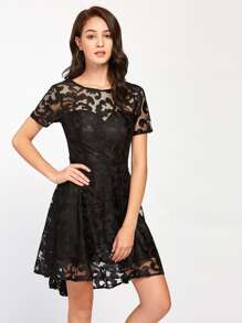V Back Lace Overlap Dip Hem Dress