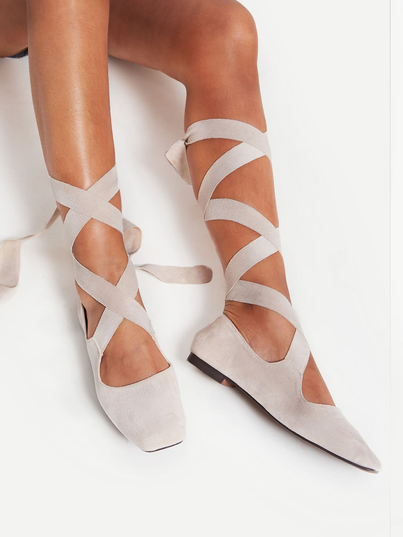 Фото Square Toe Tie Leg Flats. Купить с доставкой