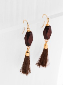 Tassel Drop Earrings With Wood Detail
