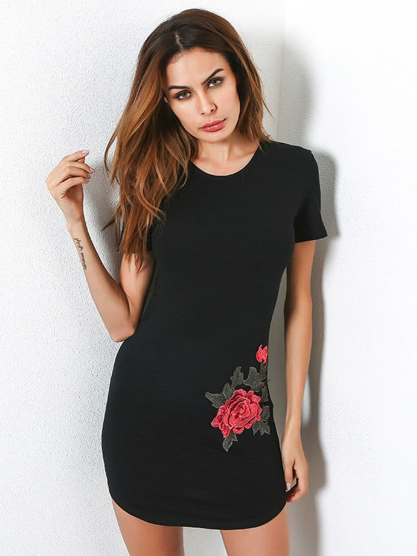 Embroidered Applique Curved Hem Bodycon Dress matrix 11383