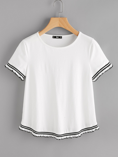 Knit Striped Trim Tee