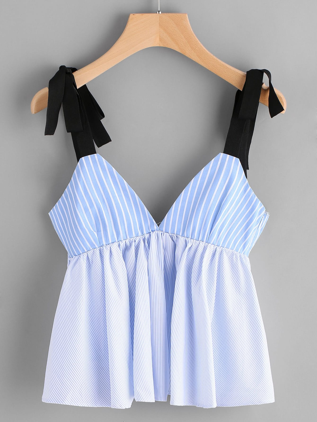 Vertical Striped Bow Tie Detail Peplum Cami Top mesh shoulder lace applique bow detail striped top