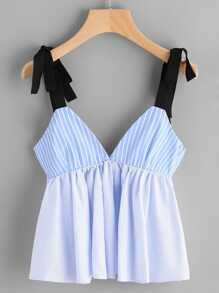 Vertical Striped Bow Tie Detail Peplum Cami Top