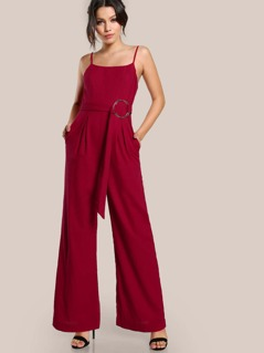 Self Belted Fold Pleat Cami Palazzo Jumpsuit