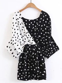 Surplice Front Color Block Polka Dot Top